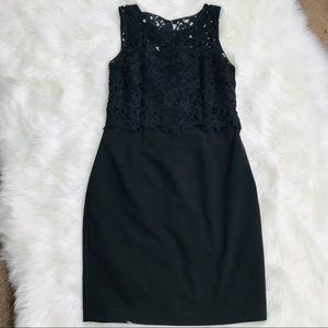 H&M | Black Sleeveless Lace Overlay Dress